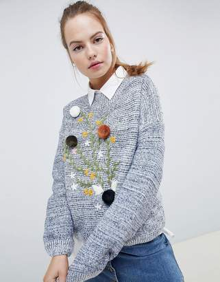 Wild Flower Sweater With Pom Pom and Floral Embroidery