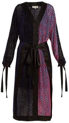 Diane von Furstenberg V Neck Devore Wrap Dress - Womens - Blue Multi