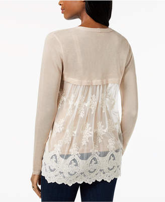 Style&Co. Style & Co Lace-Back Pointelle Cardigan, Created for Macy's