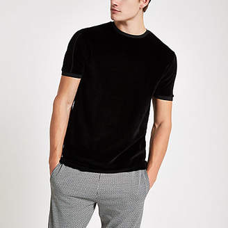 River Island Black slim fit piped crew neck velour T-shirt