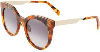 Balmain Plastic Round Gradient Tortoiseshell Sunglasses