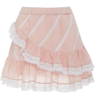 LoveShackFancy Emma Tiered Lace-Trimmed Cotton Skirt
