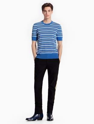 Calvin Klein striped cotton knit short sleeve sweater