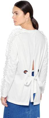 SteveJ & YoniP Ruffle Cotton T-Shirt W/ Back Opening