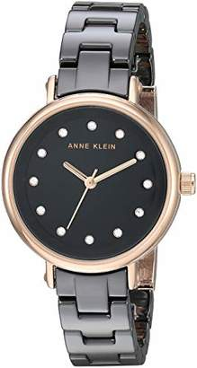 Anne Klein Women's AK/3312BKRG Swarovski Crystal Accented Rose Gold-Tone and Black Ceramic Bracelet Watch