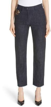 Michael Kors Genuine Calf Hair Pocket Straight Leg Jeans