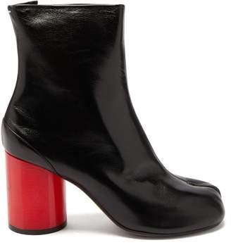 Maison Margiela Tabi Split Toe Holographic Heel Leather Boots - Womens - Black Red