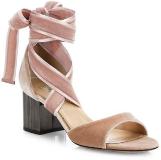 Valentino Women's Ballet Fever Velvet Ankle-Wrap Block-Heel Sandals