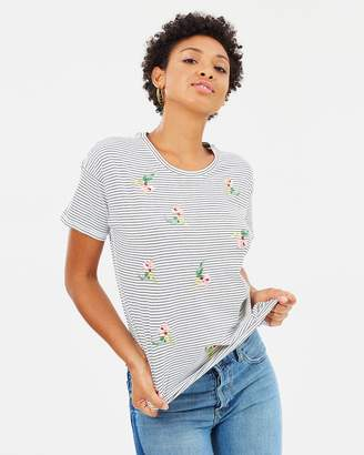 Warehouse Tropical Bunch Embroidered Tee