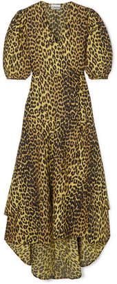 Ganni Bijou Leopard-print Cotton-poplin Wrap Dress