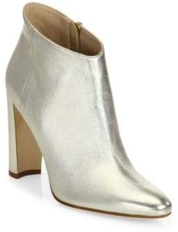 Manolo Blahnik Brusta Metallic Leather Block Heel Booties