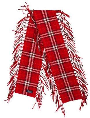 Burberry Merino Check Fringe-Trimmed Scarf