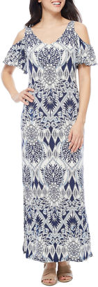 Msk Short Sleeve Cold Shoulder Maxi Dress $72 thestylecure.com