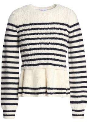 RED Valentino Striped Cable-Knit Wool Peplum Sweater