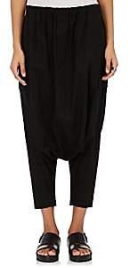 Yohji Yamamoto Regulation REGULATION WOMEN'S LINEN-COTTON DROP-RISE PANTS - BLACK SIZE 1 JP