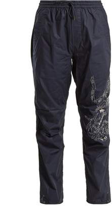 MHI Tiger Embroidery Cotton Trousers - Womens - Navy