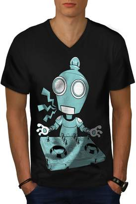 Christian Dior Wellcoda DJ Robot Turntable Mens V-Neck T-shirt, Rave Design Printed Tee L