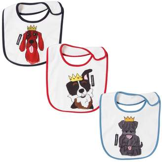 Dolce & Gabbana Set Of 3 Dog Printed Cotton Jersey Bibs