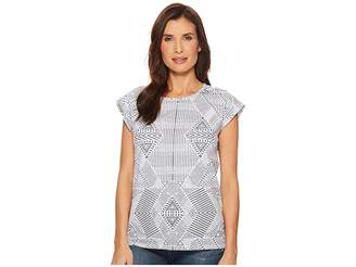 Tribal Printed Jersey Cap Sleeve Top with Back Slit Detail Women's T Shirt