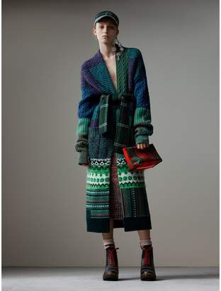 Burberry Cashmere Wool Mohair Patchwork Cardigan Coat