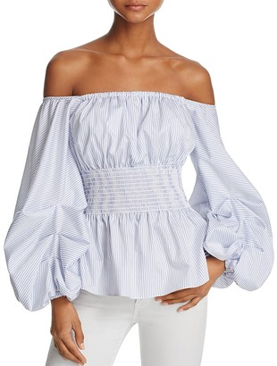 PETERSYN Ashley Smocked Off-the-Shoulder Top $298 thestylecure.com