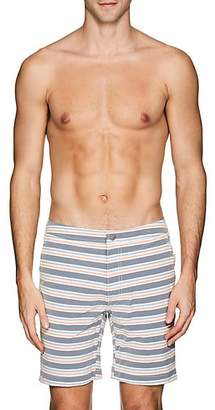 Onia MEN'S CALDER STRIPED SWIM TRUNKS - WHITE SIZE 36