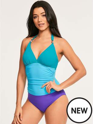 16bf179a25984 at Littlewoods · Figleaves Colour Block Underwired Halter Swimsuit - Blue