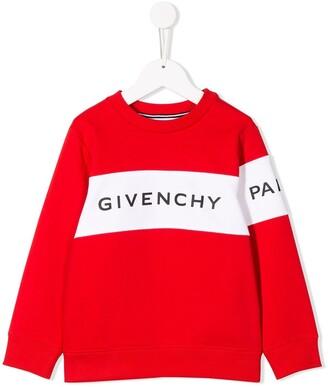 Givenchy Kids logo printed stripe sweatshirt