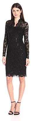 Marina Women's Long-Sleeve Lace Sequin Dress $52.30 thestylecure.com