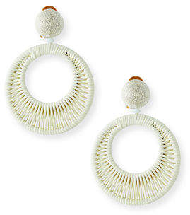 Oscar de la Renta Leather Hoop-Drop Clip-On Earrings