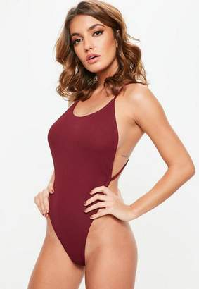 Missguided Burgundy Ribbed Extreme Cross Back Swimsuit