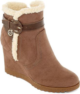 LIZ CLAIBORNE Liz Claiborne Reston Faux-Fur Wedge Ankle Booties $100 thestylecure.com