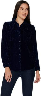 Denim & Co. Crushed Velvet Long Sleeve Button Front Collared Shirt