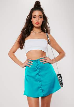 Missguided Teal Satin Button Front A Line Mini Skirt