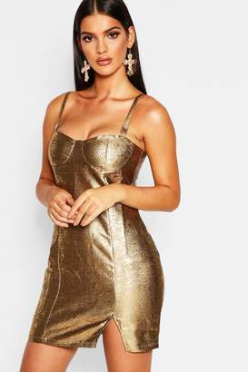 760a5d1390 boohoo Metallic Bustier Bodycon Dress