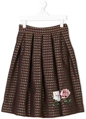 MonnaLisa pleated graphic-print skirt