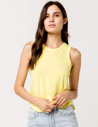 Full Tilt Shirt Tail Neon Yellow Womens Tank Top