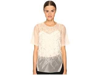Prabal Gurung Short Sleeve Embroidered Blouse Women's Blouse