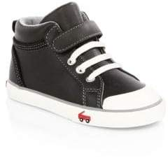 See Kai Run Kid's Peyton Leather High-Top Sneakers - Black - Size 9.5 (Toddler)
