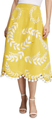 Oscar de la Renta Two-Pocket Fern Thread-Work Embroidered Full Midi Skirt w/ Scallop Hem