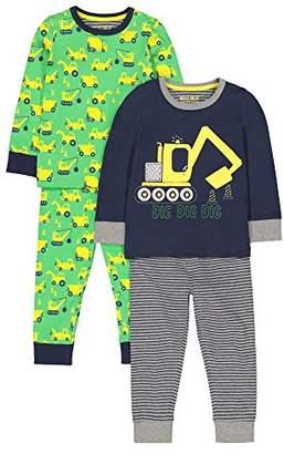 Mothercare Baby Boys 2 Pack Digger PJ Pyjama Sets,(Size: 98)