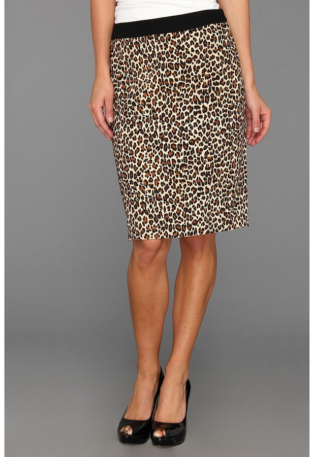 Nine West Crepe Animal Print Slim Skirt (Leopard/Black) - Apparel