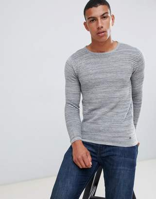 Solid Crew Neck Knit Sweater In Gray