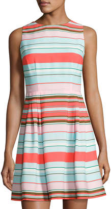 CeCe by Cynthia Steffe Clairborne Striped Fit & Flare Dress, Blue Pattern $89 thestylecure.com