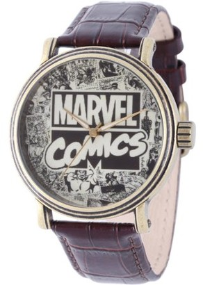 Marvel Comics Men's' Antique Gold Alloy Vintage Watch, Brown Leather Strap