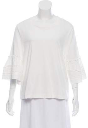See by Chloe Ruffle-Accented Short Sleeve Top w/ Tags