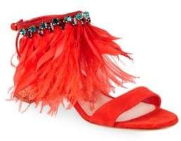 Miu Miu Jeweled Feather Leather Sandals