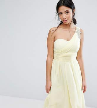 Little Mistress Petite One Shoulder Embellished Full Prom Skater Dress