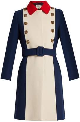 Gucci Tiger-embellished tri-colour wool coat