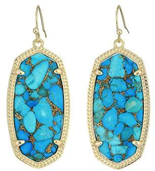Kendra Scott Signature Elle Earrings in Gold Plated and Bronze Veined Turquoise Colored Magnasite